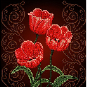 Тюльпаны Ткань с рисунком Божья коровка 0009