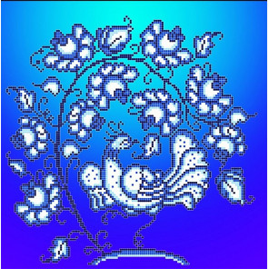 Гжель Ткань с рисунком Божья коровка 0021