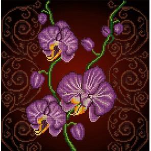 Орхидея фиолетовая Ткань с рисунком Божья коровка 0028