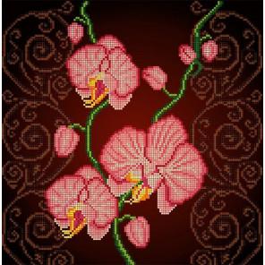 Орхидея розовая Ткань с рисунком Божья коровка 0029