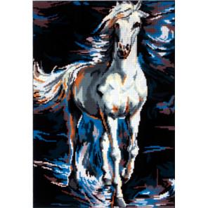 Белый конь в сизой дымке Канва жесткая с рисунком для вышивки Gobelin L 45
