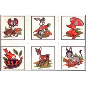 Детские картинки, 6 картинок Канва жесткая с рисунком для вышивки Gobelin L