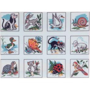Животные, птицы, насекомые, 12 картинок Канва жесткая с рисунком для вышивки Gobelin L