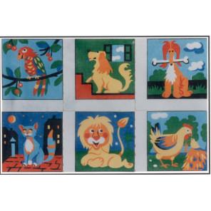 Детские сюжеты, 6 картинок Канва жесткая с рисунком для вышивки Gobelin L