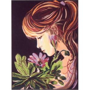 Девушка с анемоном Канва жесткая с рисунком для вышивки Gobelin L