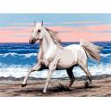 Белая лошадь на морском берегу Канва жесткая с рисунком для вышивки Gobelin L