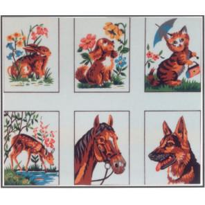 Животные, 6 картинок Канва жесткая с рисунком для вышивки Gobelin L
