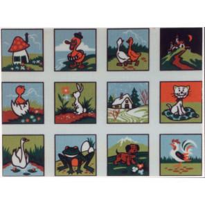Детские картинки, 12 картинок Канва жесткая с рисунком для вышивки Gobelin L