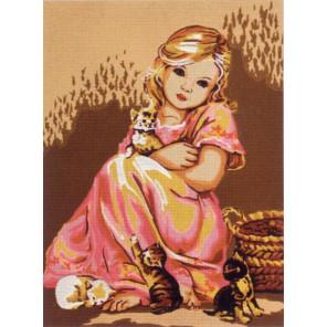 Малышка в розовом и котята Канва жесткая с рисунком для вышивки Gobelin L