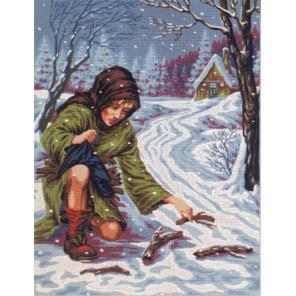 Женщина, собирающая хворост Канва жесткая с рисунком для вышивки Gobelin L