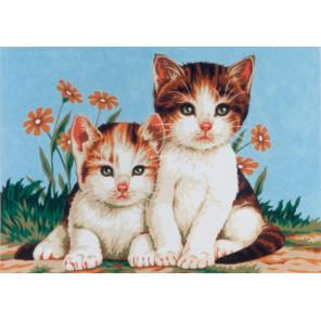 Котята Канва жесткая с рисунком для вышивки Gobelin L