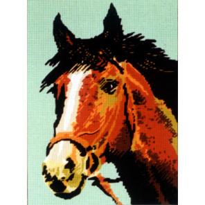 Голова рыжего коня Канва жесткая с рисунком для вышивки Gobelin L