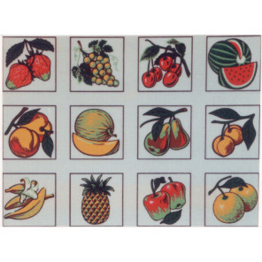 Фрукты, 12 картинок Канва жесткая с рисунком для вышивки Gobelin L
