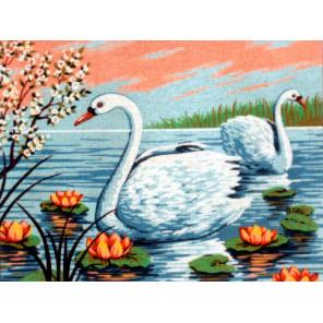 Лебеди в кувшинках Канва жесткая с рисунком для вышивки Gobelin L
