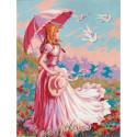 Девушка с зонтиком Канва жесткая с рисунком для вышивки Gobelin L