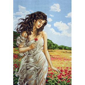 Девушка в маках Канва жесткая с рисунком для вышивки Gobelin L