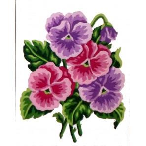 Фиалки Канва жесткая с рисунком для вышивки Gobelin L