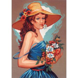 Девушка в голубом Канва жесткая с рисунком для вышивки Gobelin L