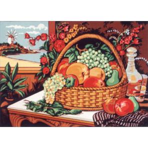 Натюрморт с корзиной фруктов Канва жесткая с рисунком для вышивки Gobelin L