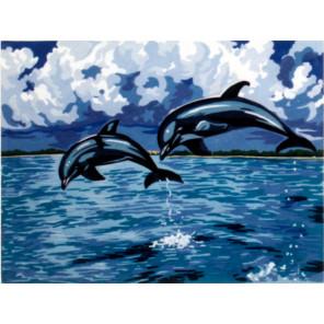 Дельфины Канва жесткая с рисунком для вышивки Gobelin L