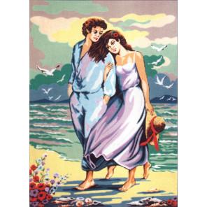 Вдвоём у моря Канва жесткая с рисунком для вышивки Gobelin L
