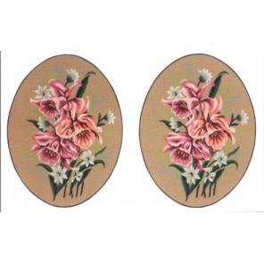 Розовые цветы, 2 картинки Канва жесткая с рисунком для вышивки Gobelin L