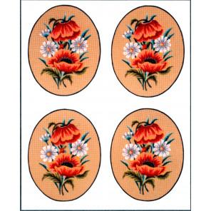 Маки и ромашки, овал, 4 картинки Канва жесткая с рисунком для вышивки Gobelin L