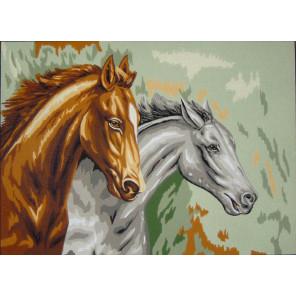 Два коня Канва жесткая с рисунком для вышивки Gobelin L