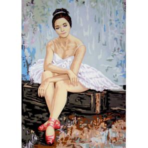 Балерина в красных пуантах Канва жесткая с рисунком для вышивки Gobelin L