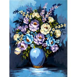 Букет в синих тонах Канва жесткая с рисунком для вышивки Gobelin L