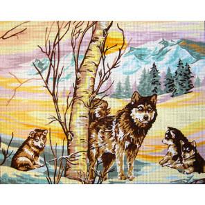 Волчата зимой Канва жесткая с рисунком для вышивки Gobelin L