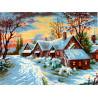 Зимняя деревенька Канва жесткая с рисунком для вышивки Gobelin L