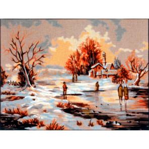 Зима Канва жесткая с рисунком для вышивки Gobelin L