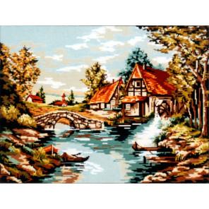 Мельница у реки Канва жесткая с рисунком для вышивки Gobelin L