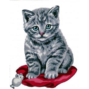 Котенок Канва жесткая с рисунком для вышивки Gobelin L