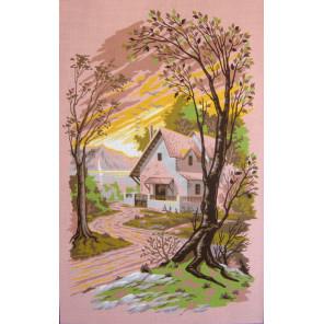 Дом у озера Канва жесткая с рисунком для вышивки Gobelin L
