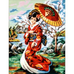 Японская девушка с зонтиком Канва жесткая с рисунком для вышивки Gobelin L