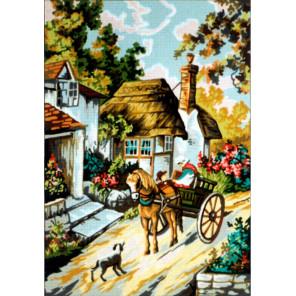 Деревенская улочка Канва жесткая с рисунком для вышивки Gobelin L