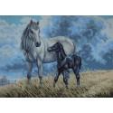 Лошадь с жеребенком Канва жесткая с рисунком для вышивки Gobelin L
