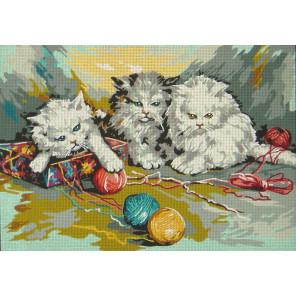 Три котенка Канва жесткая с рисунком для вышивки Gobelin L