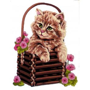 Котенок в корзине Канва жесткая с рисунком для вышивки Gobelin L