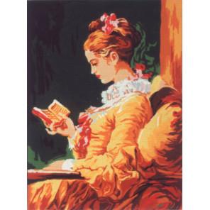 Дама с томиком стихов Канва жесткая с рисунком для вышивки Gobelin L