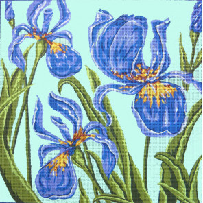 Ирисы на голубом Канва жесткая с рисунком для вышивки Gobelin L