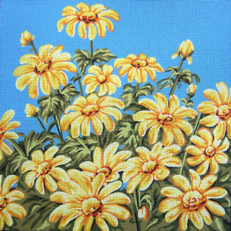 Ромашки на голубом Канва жесткая с рисунком для вышивки Gobelin L