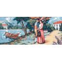 Прогулка у реки Канва жесткая с рисунком для вышивки Gobelin L