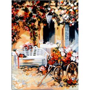 Повозка цветочницы Канва жесткая с рисунком для вышивки Gobelin L