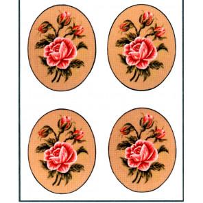 Роза,овал, 4 картинки Канва жесткая с рисунком для вышивки Gobelin L