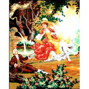 На качелях Канва жесткая с рисунком для вышивки Gobelin L