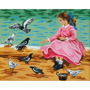 Голуби и девочка Канва жесткая с рисунком для вышивки Gobelin L
