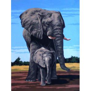 Слоны Канва жесткая с рисунком для вышивки Gobelin L